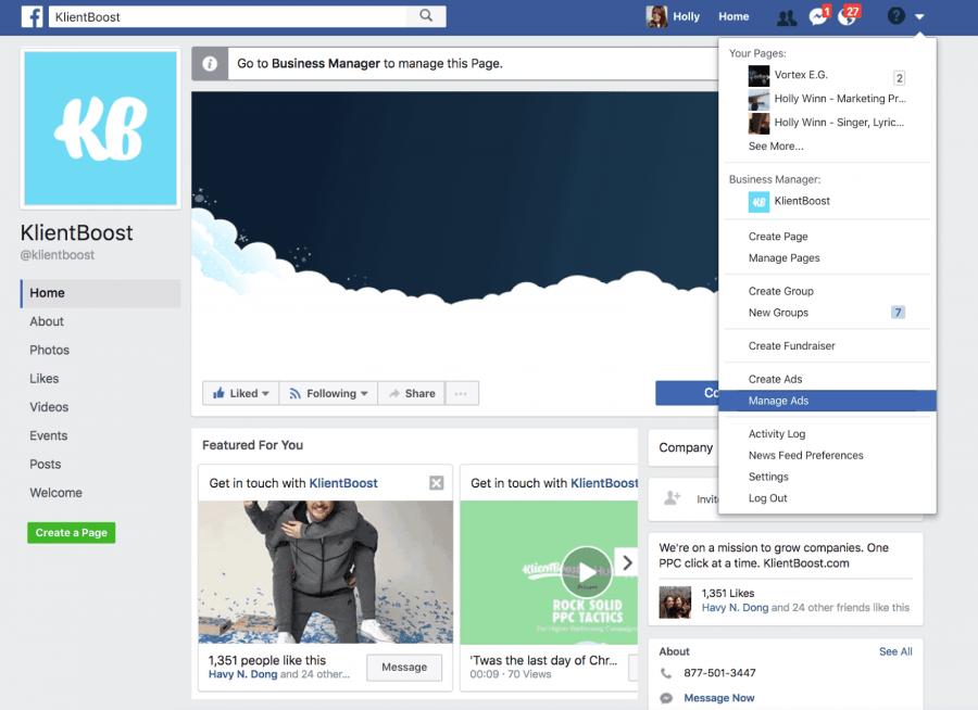 Переход в Ads Manager со страницы фейсбука