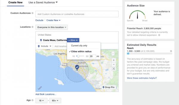 Выбери целевую аудиторию в Фейсбуке