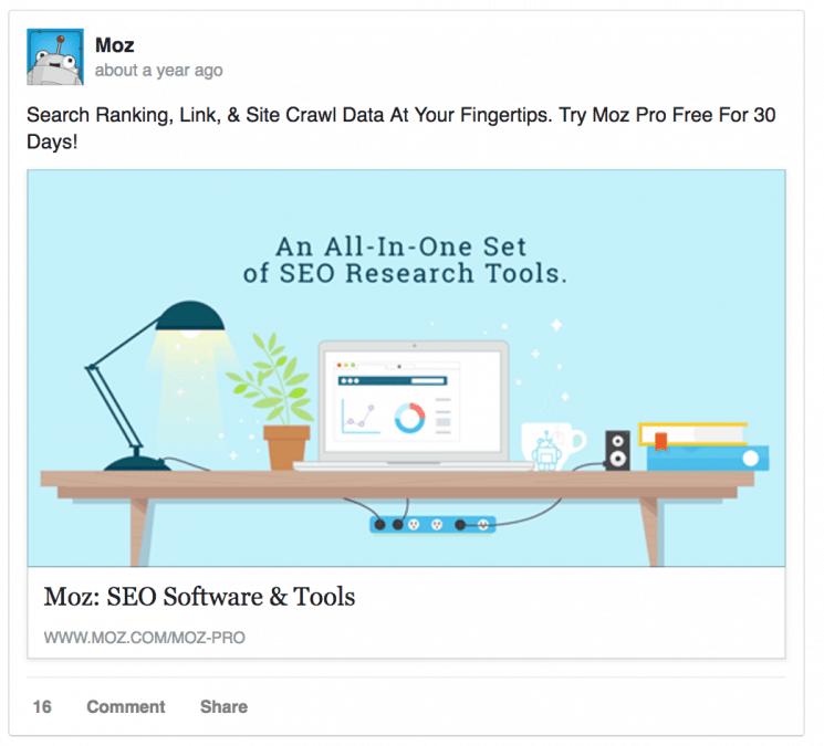 Пример хорошей рекламы в Facebook от Moz