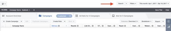 Поиск и фильтры в Facebook Ads Manager