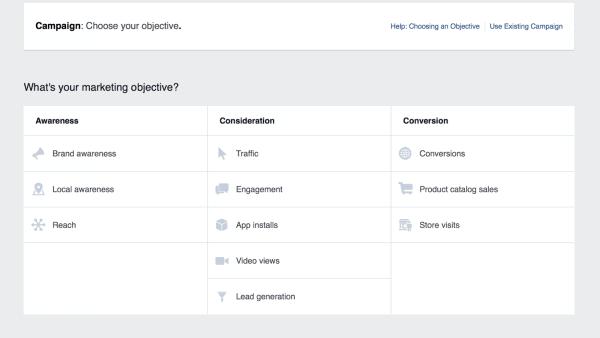 Цели рекламных кампаний в Фейсбук