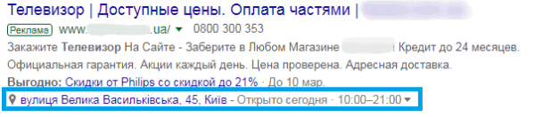 Расширение объявления местоположение Google Ads